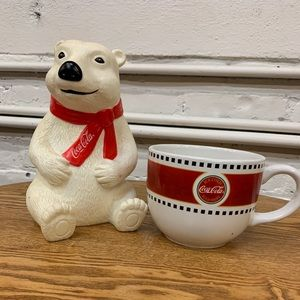 Coca Cola Bear piggy bank with cup for collectors.